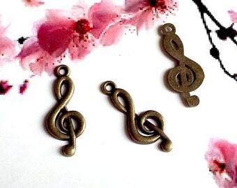 Bronze 20 sol key metal charms 26x10mm