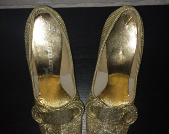 Vintage Gold Lame Maling's Custom Made Heels Size 6