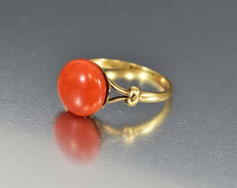 Antique 18K Gold Coral Ring, Red Coral Solitaire Edwardian Engagement Ring, Orange Stone Boho Stacking Ring