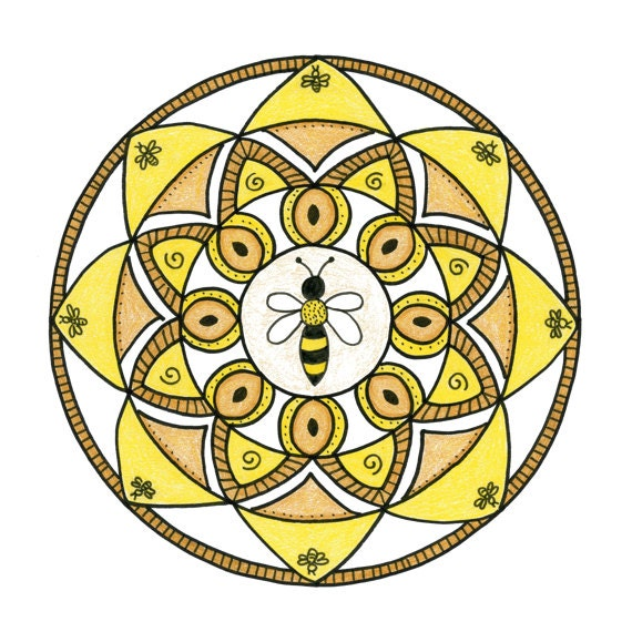 Note Cards, Notecards, Blank Cards, Birthday Card, Thank You Cards, Cards, Bee, Honeybee, Small Art, Mandala, Mandala Print, Sacred Geometry
