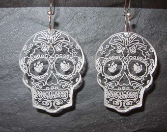 Sugar Skull  Perspex ( Lucite) earrings with handmade sterling silver earwires