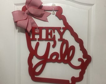 Georgia State Wooden Hey Yall Sign, Door Wreath, Farmhouse, Country, Georgia, MDF, Southern, South, Words