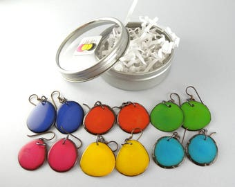 Summer Fashion Colors 6 Pair Compact Travel Pack Tagua Nut Eco Friendly Earrings with Free USA Shipping #taguanut #ecofriendlyjewelry