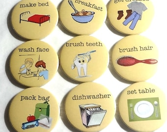 My Chores set of 10 fridge magnets, fridge magnet set