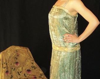 "1920s Antique Silver Lame and Metallic Lace Dress Gatsby Flapper Art Deco ""Bellasoiree Original"" Costume, Theatre, Historical"