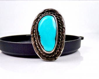 Navajo Sterling Silver Turquoise Ring Bold roped design Vintage Native American 925 Old size 7 1/2 southwest Boho Southwestern Thumb