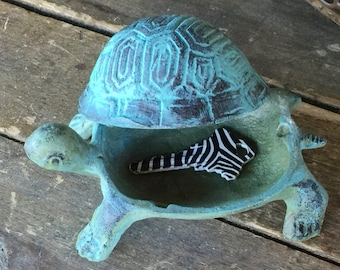 Cast Iron Turtle Tortoise Hide a Key, Realistic Garden Decor or Jewelry Holder