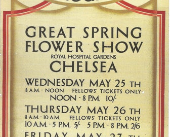 Chelsea Flower Show vintage bookmark, postcard with stamp