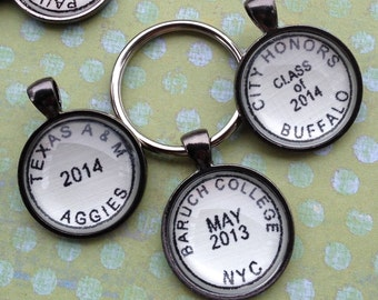 Graduation Keychain - Personalized Keychain - Gift for Grads - Custom School Keychain for Graduation - Custom Key Chain Graduation Gift