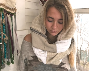 Hooded  Scarf, scoodie, patchwork knit scarf,infinity scarf, eco scarf,boho scarf,patchwork scarf,  fair isle scarf, cream scarf Zasra
