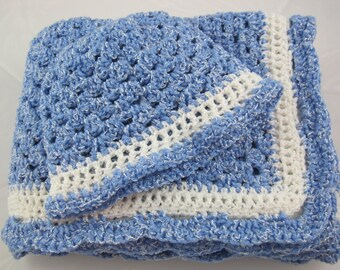 Crochet Baby Blanket, Newborn Baby Blanket, Baby Boy Blanket, Blue Sparkle, Baby Afghan, Baby Shower Gift, Crochet Baby Afghan