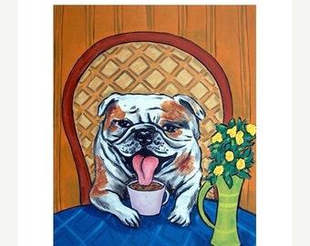 25% off bulldog art - 11x14 bulldog print,bulldog art, dog, dog art, voffee, coffee art, gift, modern folk art, print from painting