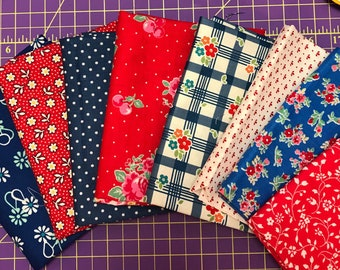 Red White and Blue Fat Quarter Bundle - Red Floral Fabric - Blue Floral Fabric