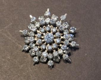 Vintage Snowflake Three Dimensional Brooch Silver Tone Blue Rhinestones Prong Set