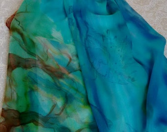 Hand painted silk scarf - Green-Blue-Brown, sea-earth scarf - handmade - Japanese chiffon silk - nature gift - ready-to-ship - free shipping