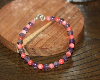 Simple Pink and Purple Beaded Bracelet
