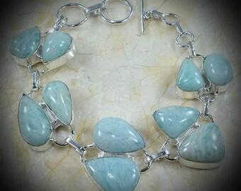 Amazonite ,silver handmade bracelet