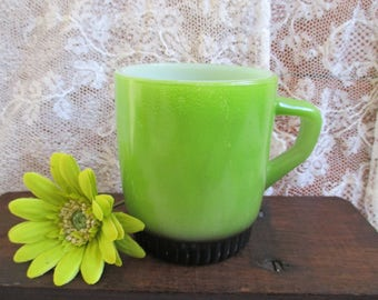 Green and black Fire-King mugs, Anchor Hocking cups, green coffee mugs, stacking coffee cups