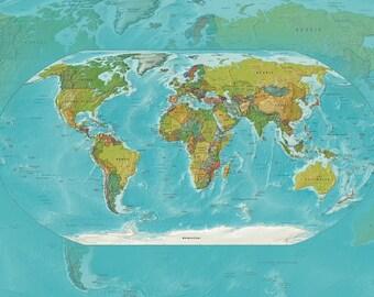 Modern World Map Fleece Blanket throw - current geography cozy, sofa, couch, bed, travel decor, soft, winter, warm, wanderlust