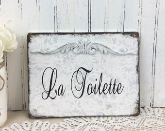 LA TOILETTE sign, French bath sign, vintage styled shabby rustic sign,  hand painted powder room sign, French Country decor