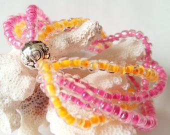 Multi Strand Pink and Orange Stretch Bracelet, Seed Bead, Stack Look, Cuff Bracelet