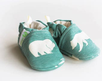 Organic Knits Vegan Bears in Mineral / All Fabric Soft Sole Baby Shoes / Made to Order / Babies