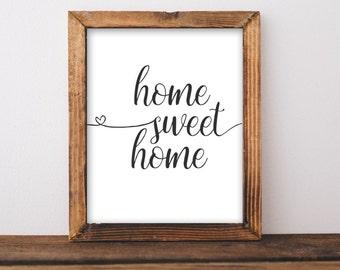 Printable Wall Art, Home Sweet Home printable art, Home art, Home decor, gallery wall, home poster, apartment decor, digital download