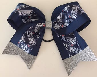 """New England Patriots 8"""" wide cheer bow w/ Glitter Tails & Center Stunning!  Super Bowl Football hair bow navy blue silver"""