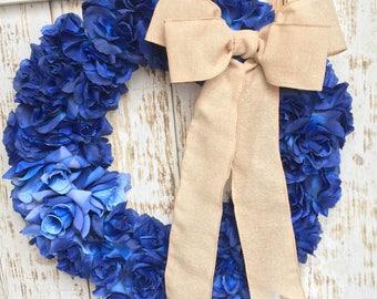 Summer Wreath - Wedding Wreath - Blue Wreath - Roses Wreath - Rustic Wreath - Anniversay Wreath - Mother's Day Wreath