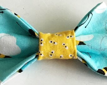 Yellow & Blue Bumble Bee Bow Tie for Male Cat and Dog