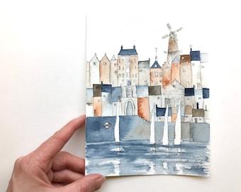 aquarelle originale d'une ville portuaire avec moulin à vent