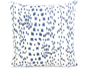 """Brunschwig Fils Les Touches Blue and White Pillow Cover, 18"""" 20"""" 22"""" Square Eurosham or Lumbar, Leopard Animal Print, Spotted Cushion Cover"""