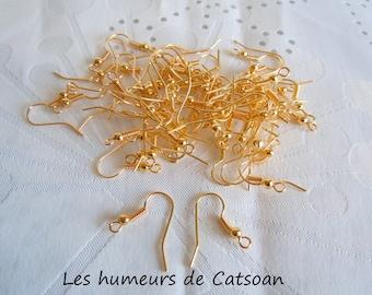 20 hooks for earrings gold plated hooks / American crochet