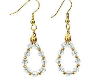 Gold April Crystal Birthstone Earrings, Swarovski Crystal Jewelry, Jewelry Gift, Clear Crystal Jewelry, Birthstone Crystal, Dangle Earrings