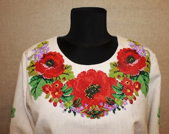 Shirt embroidered with beads