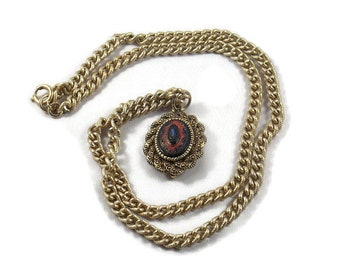 Sarah Coventry Old Venna Pendant Necklace, Sarah Coventry Necklace, Sarah Coventry Jewelry, Old Venna Necklace, Black and Red Necklace