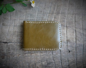 Leather wallet, Mustard brown. handmade in genuine leather.