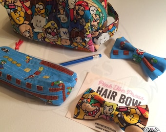 Mario Brothers // Pencil Case // Zippered Bag // Square Bag // Toiletry Bag // Gift Set