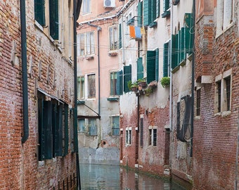 Venice, Italy, Brick Houses, Green Window Shutters, Canals, Travel Photography