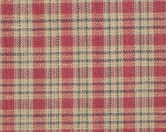 Plaid Material | Homespun Material Country Cupboard Wine Mini Plaid | Cotton Sewing Material | Craft Material | Rag Quilt Material
