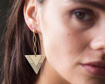 Triangle Earrings - Triangle Dangle - Dangle Earrings - Brass Earrings - Geometric Earring - Earrings For Women - Drop Earring - Nickel Free