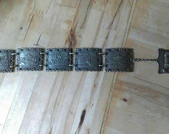 Vintage 1950s/60s silvertone Italian tourist souvenir bracelet