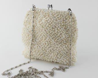White Beaded Bag - Hong Kong Bag - White Evening Bag - Bag for Bride - Something Old - Mother's Day Gift - Gift for Women - Wedding Bag
