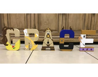 Beauty and the Beast Birthday Letters (Belle, Beast, Chip, Lumiere, Cogsworth) Birthday Party Decor