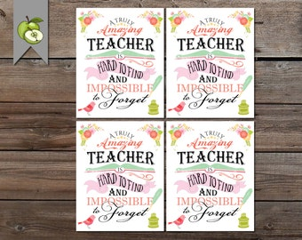 Teacher Appreciation, Gift Tag, a truly amazing Teacher Gift Tag, Thank you Teacher Tag, Teacher Printable, DIY Printable INSTANT DOWNLOAD