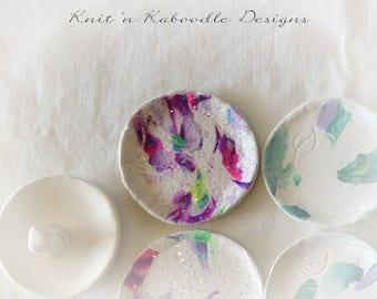 Clay jewelry dish, Ring dish, Trinket Dish Tropical Pattern No. 1