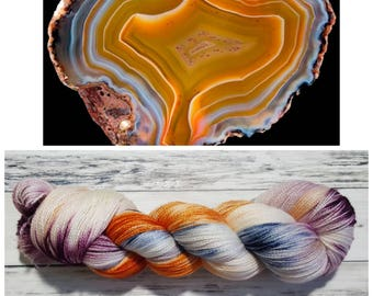 Hand Dyed Yarn, Merino, Silk, Lace Weight Variegated Yarn Perfect for Shawls and Other Lightweight Accessories - Condor Agate
