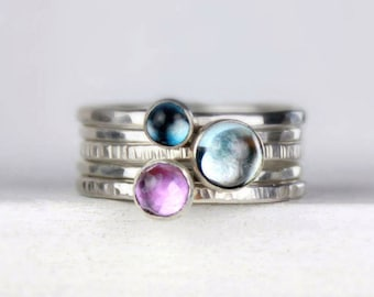 Silver Stacking Rings with Blue Topaz and Purple Amethyst, Stackable Gemstone Rings, Recycled Silver