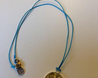 Blue necklace with OWL