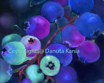 Art Print of Blueberries.  Blueberries Closeup From my Original Oil Painting. Art  Print for Home Wall Decor.
